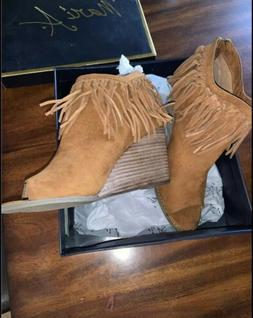 Nordstrom Athena Fringed Wedged Brown Suede Booties 8.5 Wome