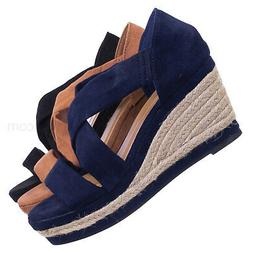 Belle05 Espadrille Platform Wedge Sandal - Women Open Toe Cr