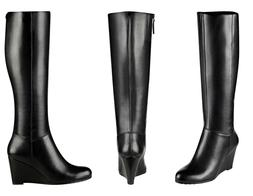 Easy Spirit Black Cambon Tall Wedge Boots - Size 8½M