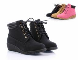 Black Color Military Preschool Girls Kids Wedge Boots Youth