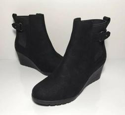 UGG AUSTRALIA Boots Indra Black Leather Buckle Wedge Ankle B