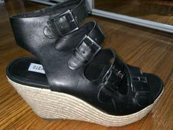 Brand New Steve Madden Black Buckle Wedges Womans Size 7.5M