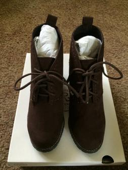 brown lace up wedges 7m