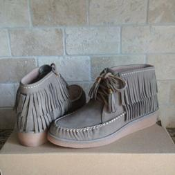 UGG Caleb Mouse Fringe Nubuck Leather Ankle Wedge Boots Boot