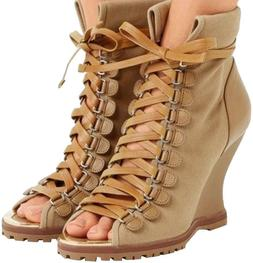 Chloé Women's River Canvas And Leather Wedge Ankle Boots 37