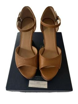 Brooks Brothers Cognac Leather And Wood Wedges Womens 7.5