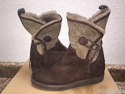 UGG COLLECTION BYANCA BRUNO BROWN HIDDEN WEDGE BOOTS USA 6 /