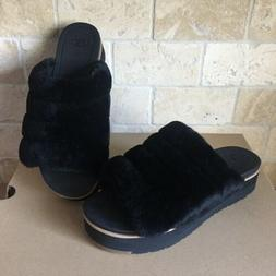 UGG FLUFF YEAH BLACK SHEEPSKIN PLATFORM SLIDE SLIP-ON SANDAL