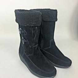 GH Bass Womens Size 6 M Vada Suede Black Boots Wedge Heel Wa