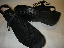 Skechers Ghillie Up Suede Leather Lace-Up Wedge Heel Sandals