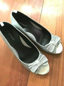 Girls youth silver wedge Dress special occasion slip on shoe