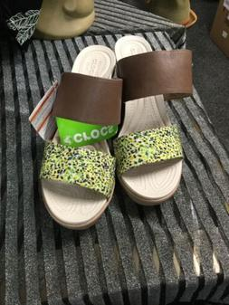 Green And Brown Crocs Wedges