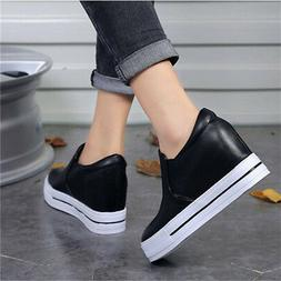 Hidden wedge-shaped casual shoes for women's high-heeled sne