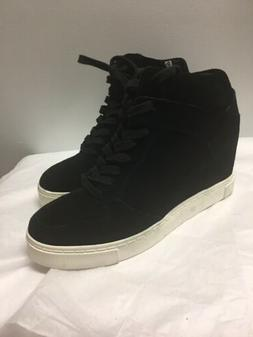 Steve Madden High Top Wedge Sneaker Black Suede Size 11