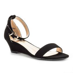 DREAM PAIRS Women's Ankle Strap Low Wedge Sandals Open Toe C