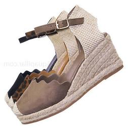 Josie01 Espadrille Round Toe Wedge - Women Closed Round Toe