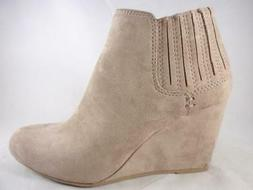 Dolcetta Kimmy Women's Booties Beige Pull On Wedge Ankle Boo