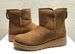 kristin chestnut shearling suede ankle wedge boot