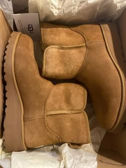 UGG KRISTIN CHESTNUT SUEDE ANKLE WEDGE BOOT US 7. New In Box