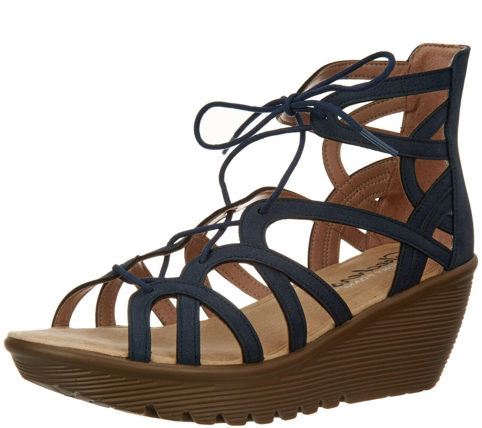 lace up wedges terrace navy size 7