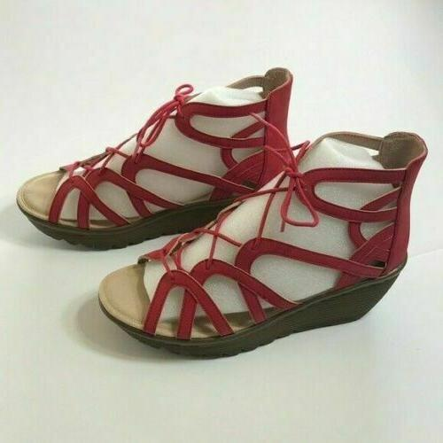 lace up wedges terrace red 6 m