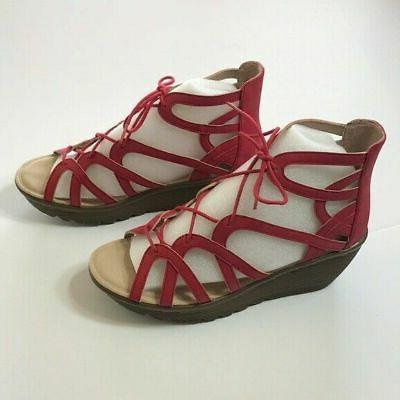 lace up wedges terrace red 7 m