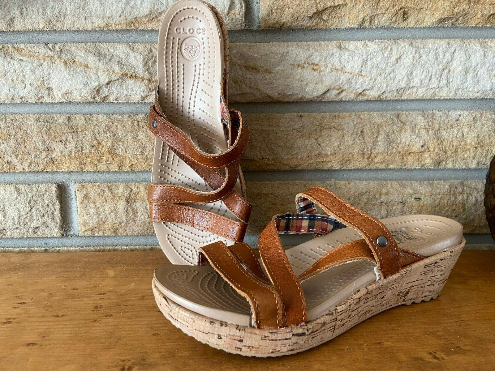 new a leigh cork wedge leather strappy