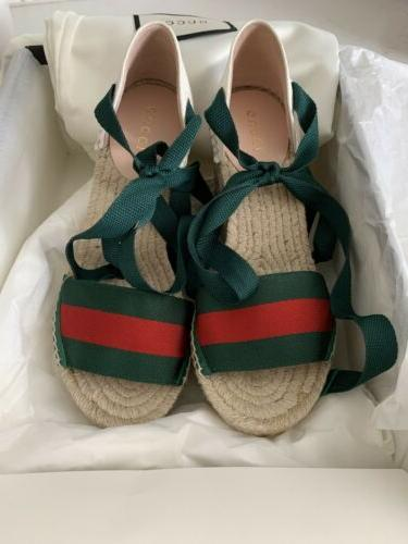 New GUCCI Lilibeth Ribbon Tie White Espadrille Wedges Shoes 35