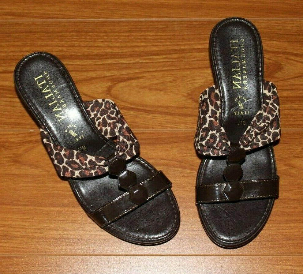 nwot brown animal print wedges by size