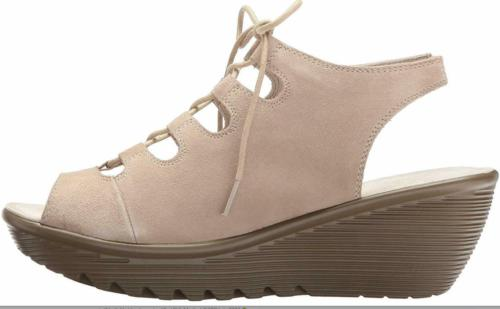 suede lace up peeptoe wedges natural new