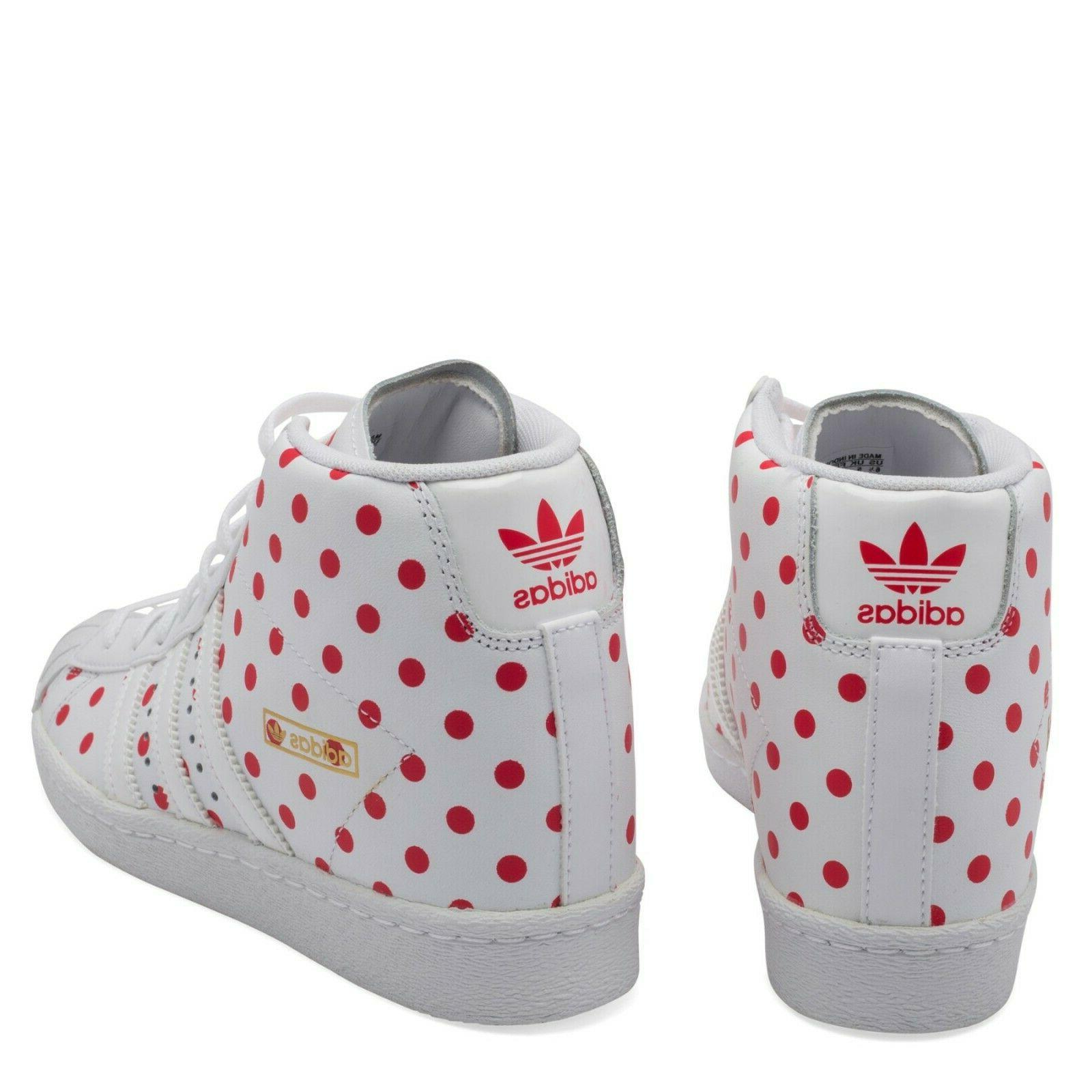 Adidas Superstar High Red & White Sneaker Shoes Size 6