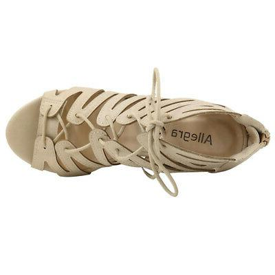 Allegra Woman Toe Lace-Up Wedge Sandals