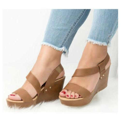 Womens Wedge Sandals Ladies Summer Casual Ankle Strap Size
