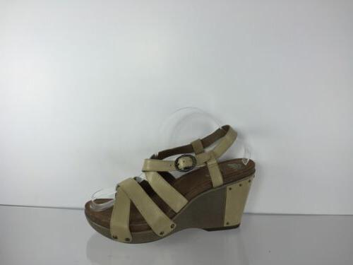 womens beige leather wedges 42