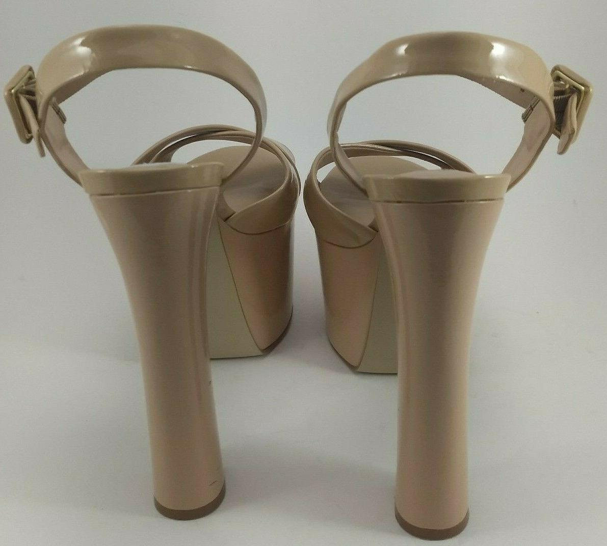 """Steve Womens Size 8 Tammy Beige 6"""" Patent Shoes"""