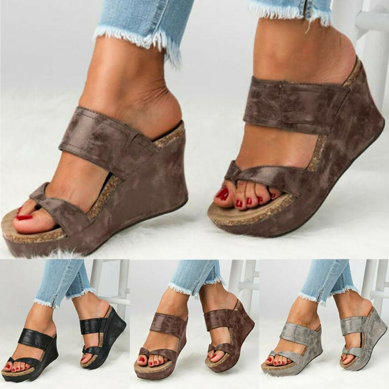 Womens Wedge Heel Sandals Open Chunky Shoes Size