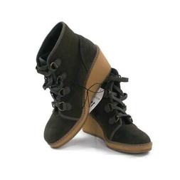 MERONA Lace Up Wedge Lorelle Round Toe Ankle Boots Green Siz