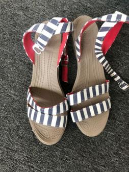 Crocs Leigh II Striped Ankle Strap Wedge Navy/red  Size 10 N