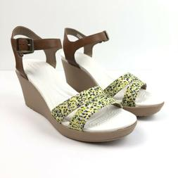 Crocs Leigh II Wedge Sandals Size 8 Hazelnut Floral Ankle St