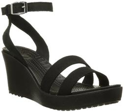 Crocs Women's Leigh Wedge Sandal,Black,6 M US