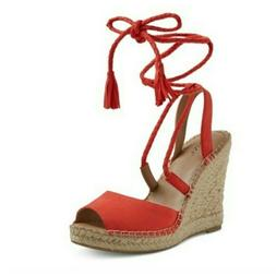 Merona Maren Red/Coral Lace Up Espadrille Wedge Sandals Red