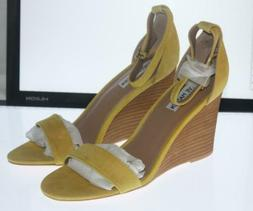 Steve Madden Mary Mustard Yellow Suede Wedge Sandals Size US