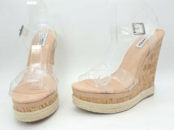 Steve Madden Maven Women Shoes Platform Wedge Sandals Clear