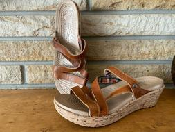 NEW CROCS A-Leigh Cork Wedge Leather Strappy Brown Size 6