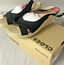 New Crocs  A-Leigh Wedges Open Toe Slingback Size 7 Womens