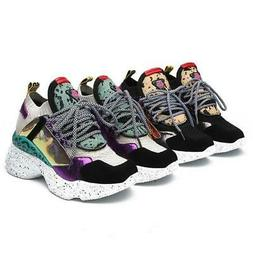 New Colorful Fashion Breathable Wedge Platform Sneakers For