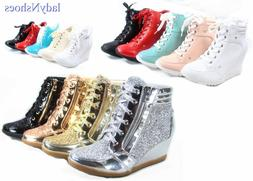 NEW Glitter Sneaker Women's High Top Lace Up Wedge Booties S