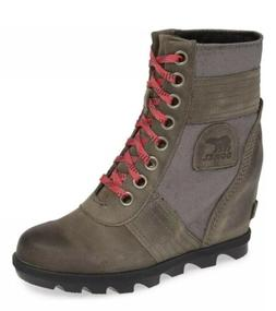 New Sorel Lexie Wedge Boots Booties Quarry Ankle Size 7