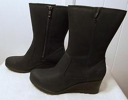 NEW UGG Nubuck Leather Boots JOELY Wedge Black Women's Size