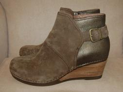 NEW DANSKO SHIRLEY Taupe Suede Wedge Ankle Bootie Leather